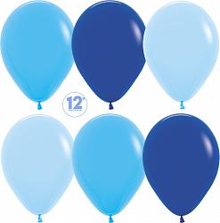 10 латексных шаров 30 см., цвет голубое ассорти