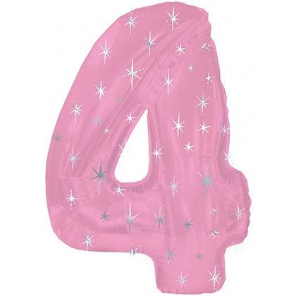 """Цифра фольгированная """"4"""" розовая рисунок звезды"""