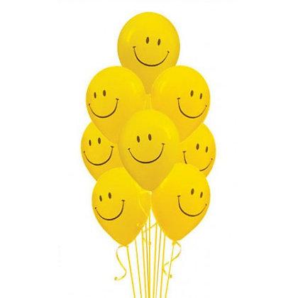 Букет из 10 латексных шаров рисунок Смайл
