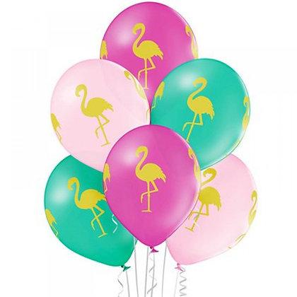 Букет из 10 латексных шаров 30 см. рисунок Фламинго