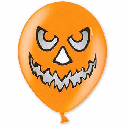 Букет из 10 латексных шаров рисунок Halloween рыж.