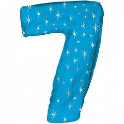 """Цифра фольгированная """"7"""" голубая рисунок звезды"""