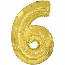 """Цифра фольгированная """"6"""" золотая рисунок звезды"""