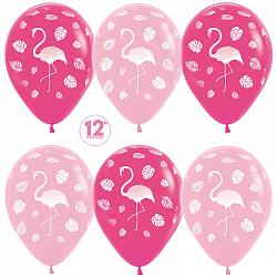 Букет из 10 латексных шаров 30 см. рисунок Фламинго и листья