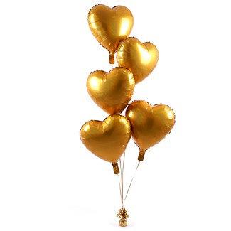Букет из фольгированных сердец яркое золото