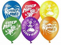 Букет из 10 латексных шаров с рисунком Супер Мама