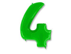 """Цифра фольгированная """"4"""" зеленая"""