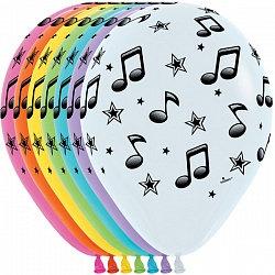 Букет из 10 латексных шаров с рисунком Ноты