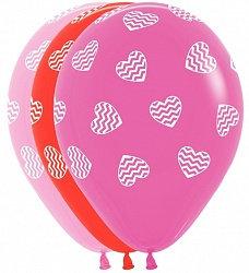 Букет из 10 латексных шаров с рисунком Сердца