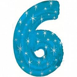 """Цифра фольгированная """"6"""" голубая рисунок звезды"""
