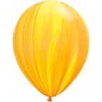 Букет из 10 латексных шаров Мрамор (Агат) желтый