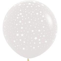Большой шар 90 см. принт Звёзды цвет прозрачный