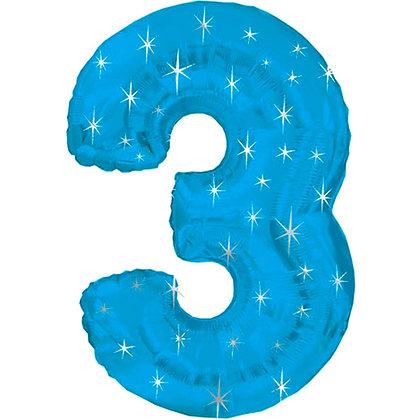 """Цифра фольгированная """"3"""" голубая рисунок звезды"""