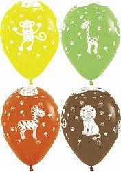Букет из 10 латексных шаров с рисунком Звери