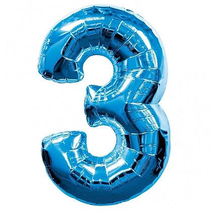 """Цифра фольгированная """"3"""" синяя"""