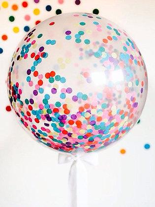 """Большой шар 36"""" с конфетти, на атласной ленте."""