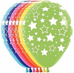 Букет из 10 латексных шаров с рисунком Звезды
