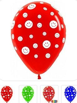 Букет из 10 латексных шаров с рисунком Смайлики