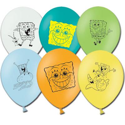 Букет из 10 латексных шаров рисунок Спанч Боб