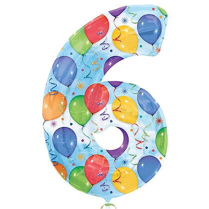 """Цифра фольгированная """"6"""" рисунок шары"""