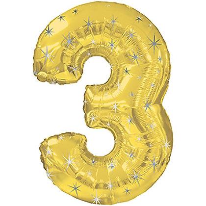"""Цифра фольгированная """"3"""" золотая рисунок звезды"""