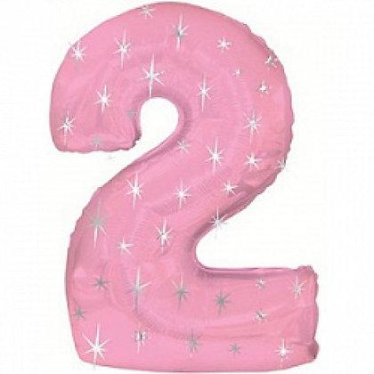 """Цифра фольгированная """"2"""" розовая рисунок звезды"""