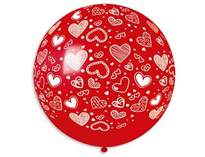 Большой шар 90 см. принт Сердца цвет красный