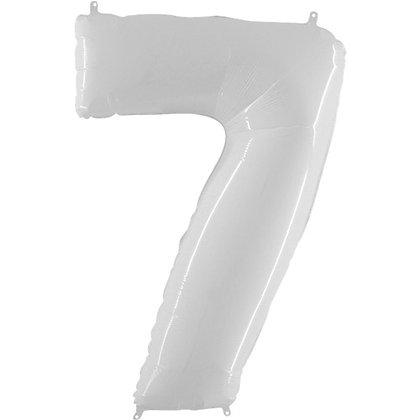 """Цифра фольгированная """"7"""" белая"""