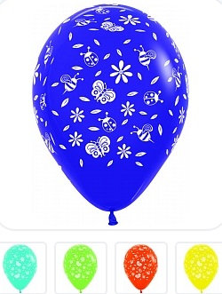 Букет из 10 латексных шаров Цветы Насекомые