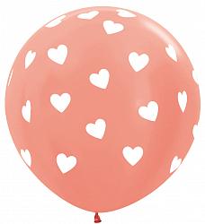 Большой шар 90 см. принт Сердца цвет персик