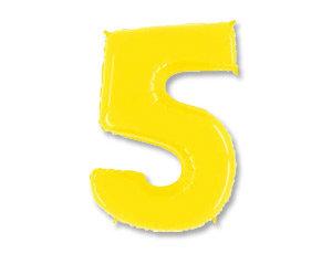 """Цифра фольгированная """"5"""" желтая"""