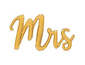 """Шар (111 см) Фигура, Надпись прописью """"MRS"""" золото"""