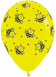 Букет из 10 латексных шаров с рисунком Пчёлы