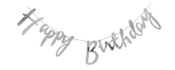 Бумажная гирлянда Happy Birthday серебро