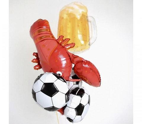 """Букет из фольгированных фигурных шаров """"Футбол сфера"""""""