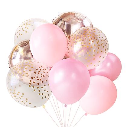 """Букет """"Розовый с шарами принт конфетти"""""""