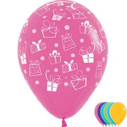 Букет из 10 латексных шаров с рисунком Подарки