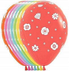 Букет из 10 латексных шаров с рисунком Цветы