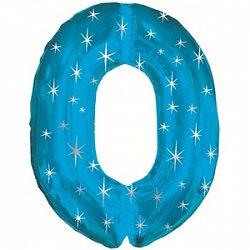 """Цифра фольгированная """"0"""" синяя рисунок звезды"""