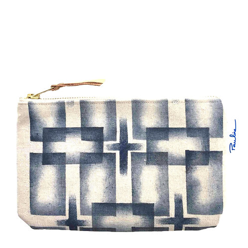 Cotton canvas zipper pouch with handprinted geometrical motif
