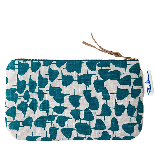 Light grey linen zipper pouch with teal coloured abstract print