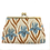 Thumbnail: linen frame purse, with iris inspired print in blue and burnt orange