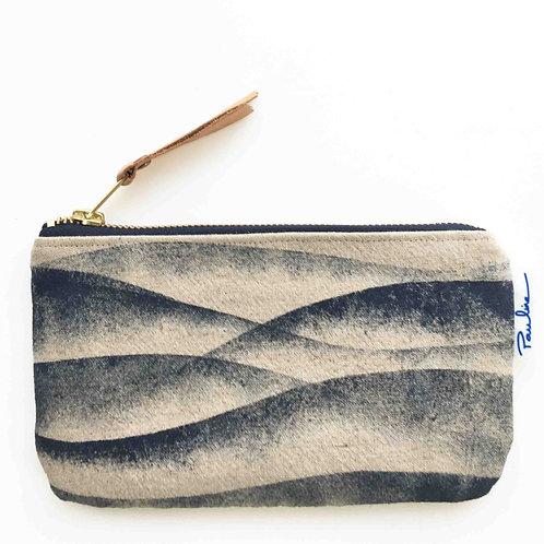 Linen zipper pouch with handprinted blue wave print