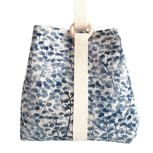 Large project bag for knitting, crochet, craft supplies with blue blossom print