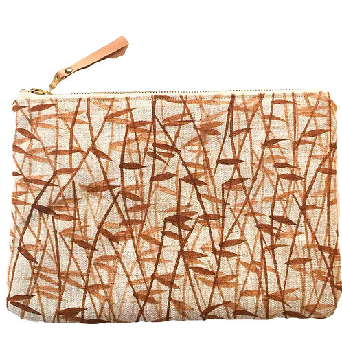 Linen clutch or large pouch with burnt orange handprinted bamboo prin