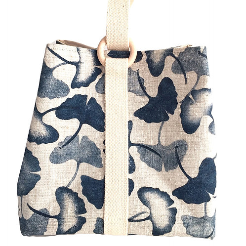 Large project bag for knitting, crochet or craft supplies with blue leaf print