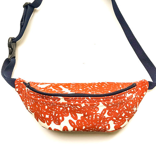Fanny pack / hip bag with burnt orang abstract doodle print and blue