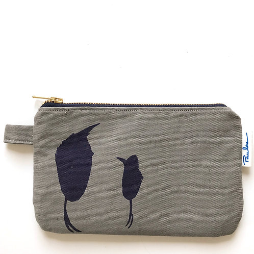 Warm grey cotton canvas zipper pouch with a blue bird print