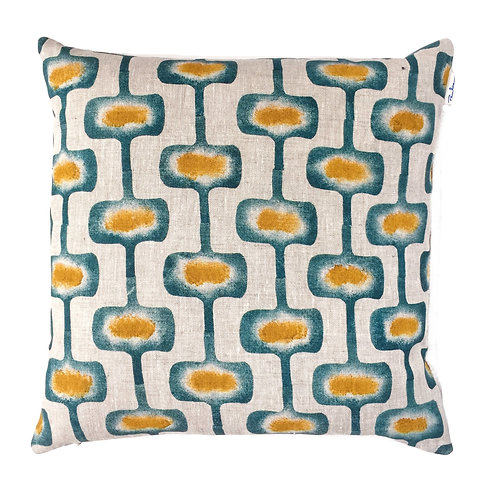50 x 50 cm linen pillow sleeve with a teal and ochre mid century modern print