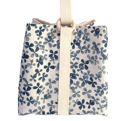 Large project bag for knitting, crochet or craft supplies with blue flower print